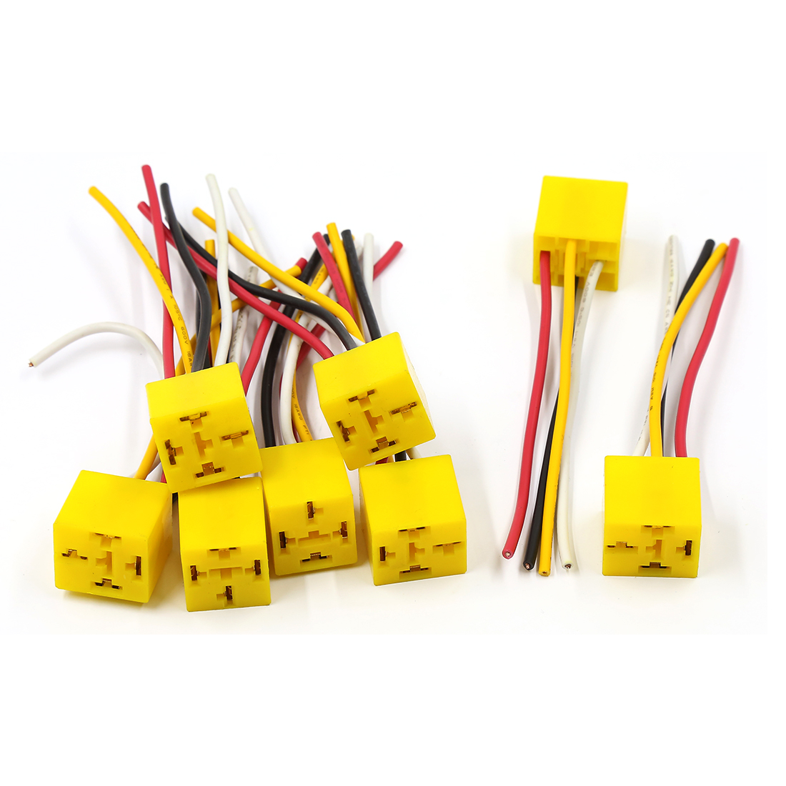 8 Pcs Yellow Plastic 4 Terminal Pre-wired Motor Car Relay Socket Harness DC 12V