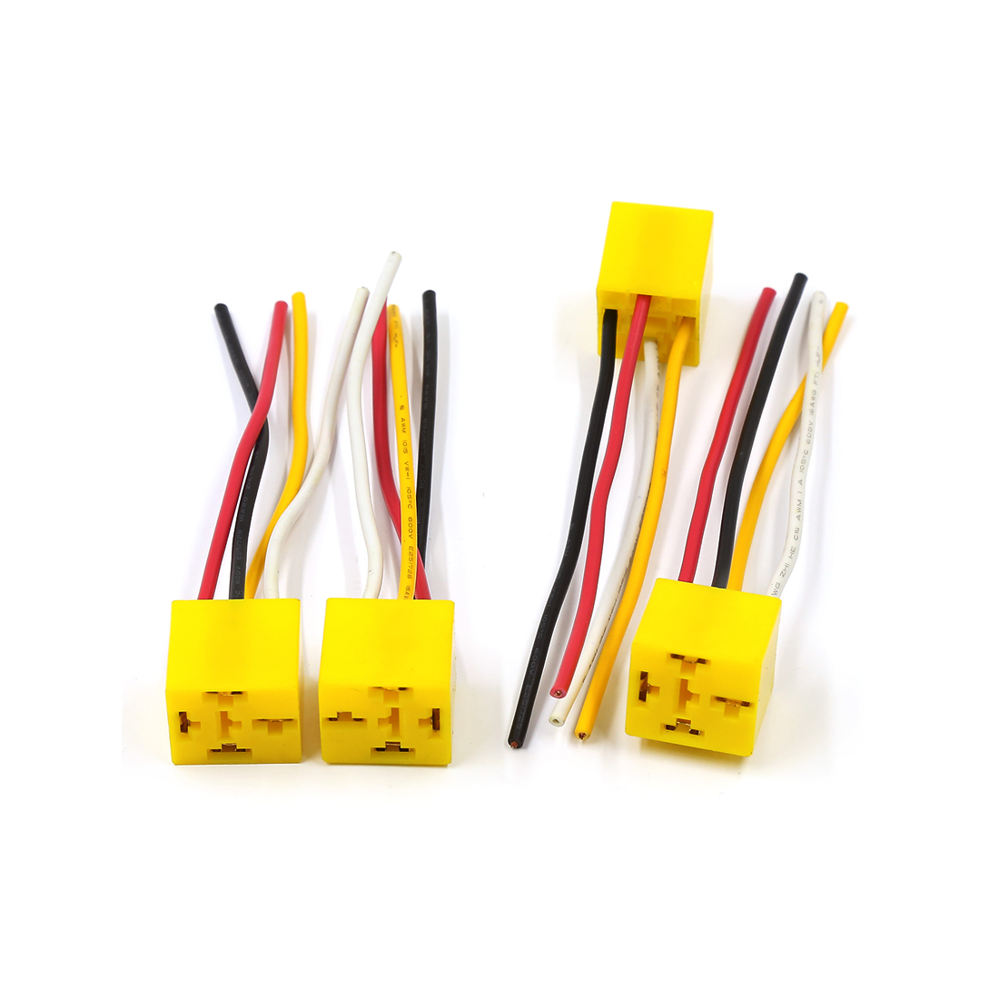 4pcs Yellow Plastic 4 Pin Pre-wired Relay Socket Holder Harness DC 12V for Car