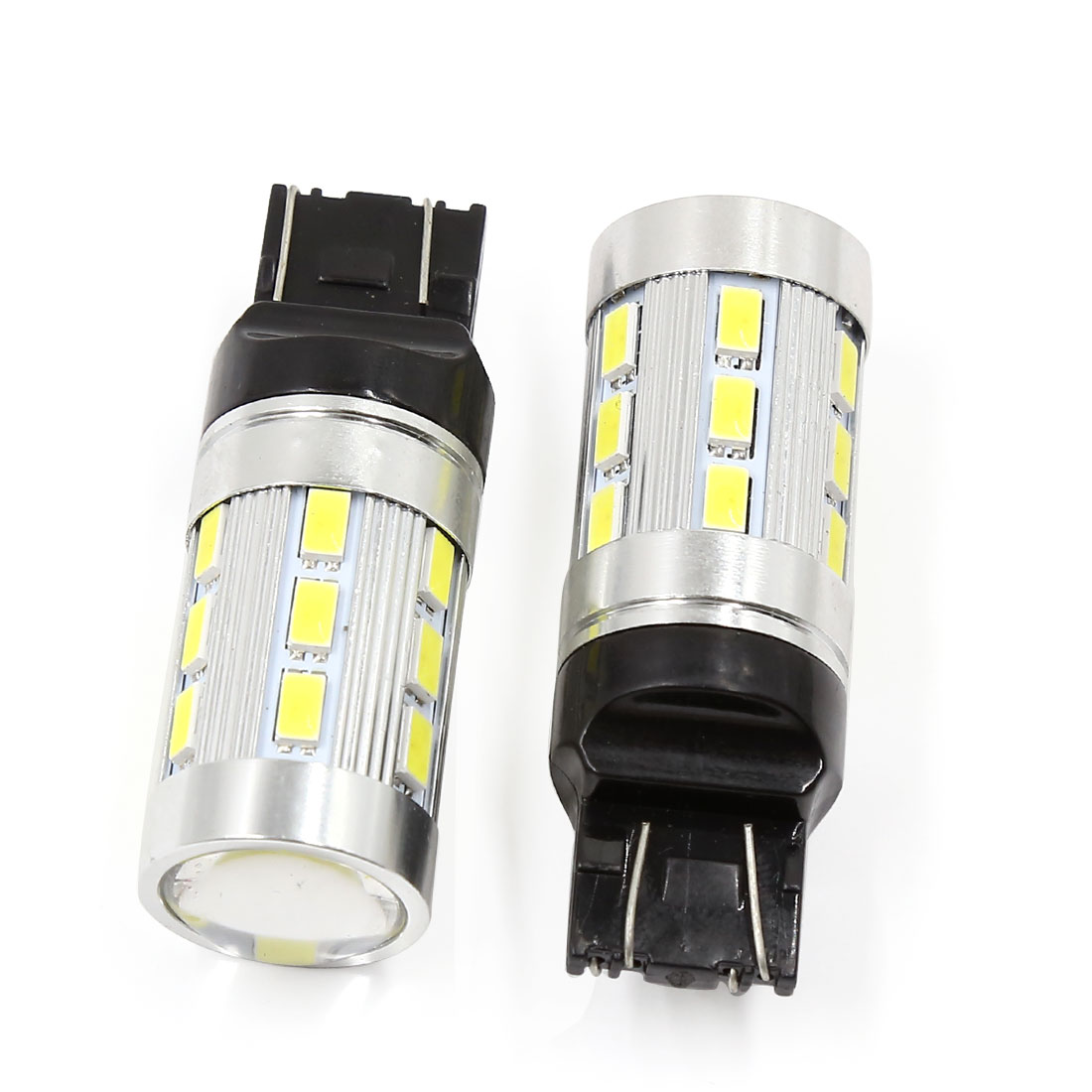 2 Pcs 7443 White Red 5630 SMD 24-LED Dual Color Switchback Projector Light Bulbs