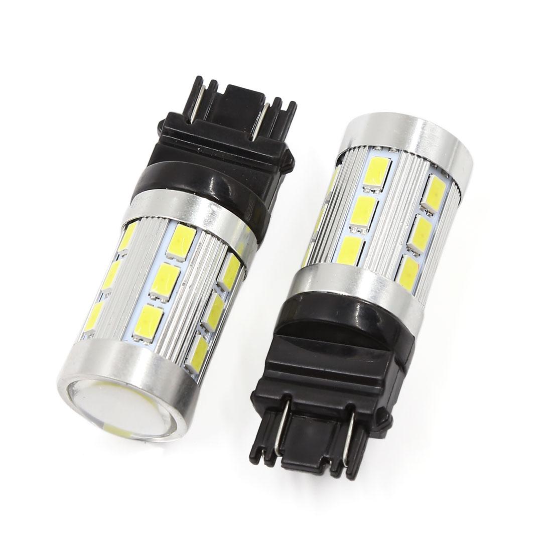 2 Pcs 3157 Dual Color Red White 24-LED Car Turn Signal Tail Parking Light Bulb