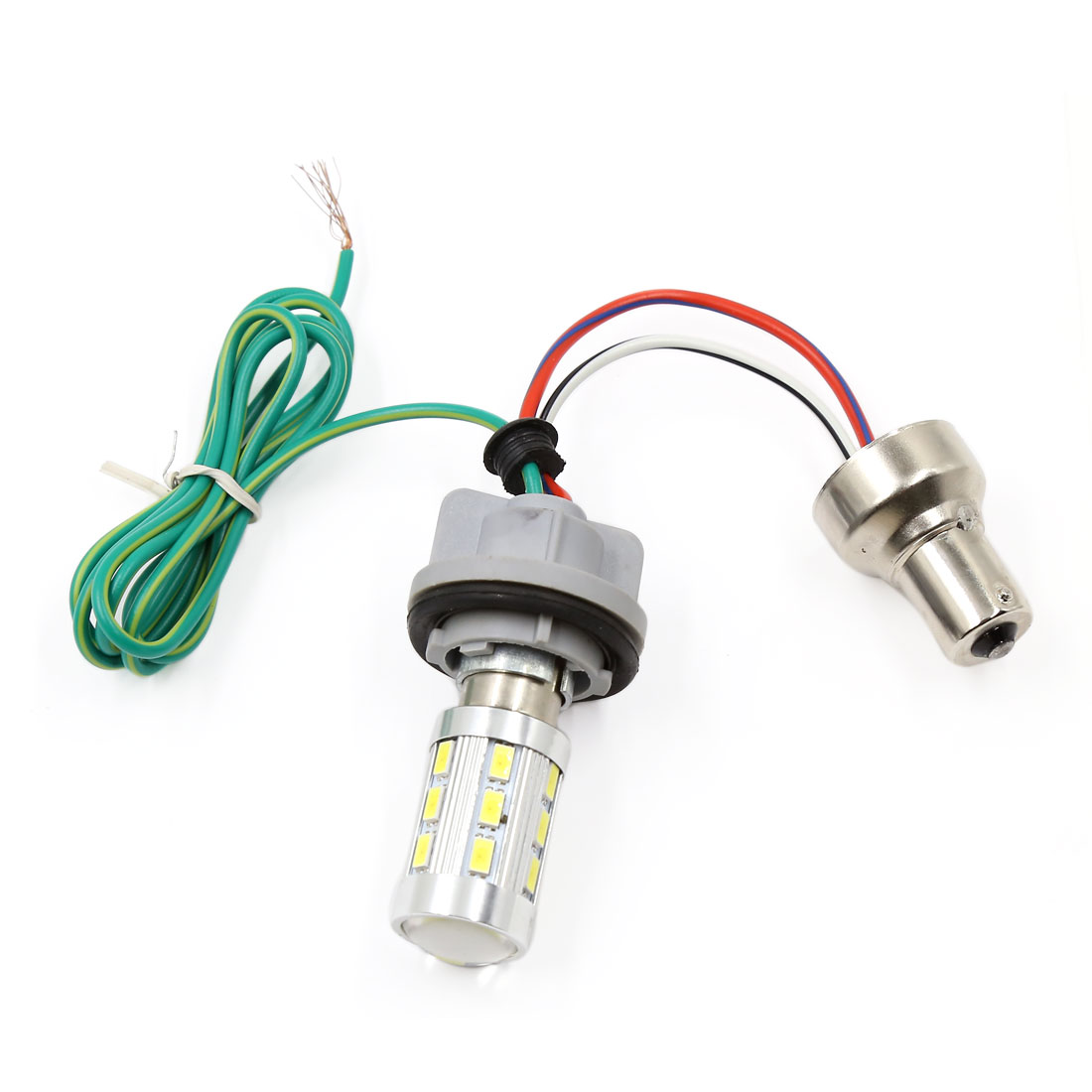 1157 Yellow White LED Dual Color Switchback Brake Signal Lamp Bulb Wired Adapter
