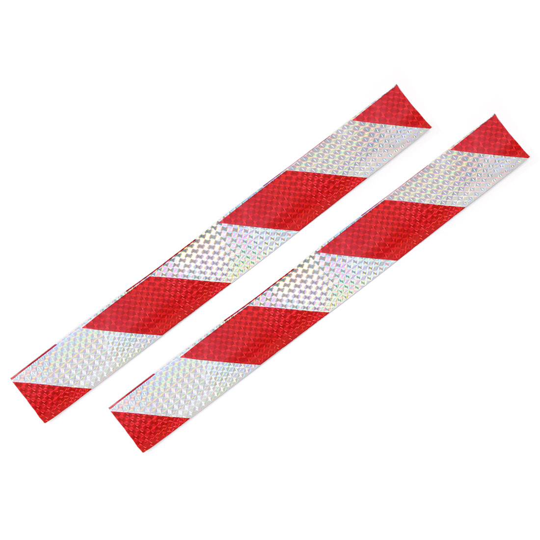 25 Pcs Red Sliver Tone Plastic Rectanglar Car Safety Reflective Sticker Strip 39.5cm x 5cm