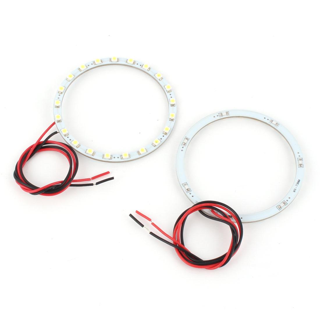 2 Pcs 70mm White 21 SMD LED Angel Eyes Halo Ring Head Lamp Light DC 12V for Car