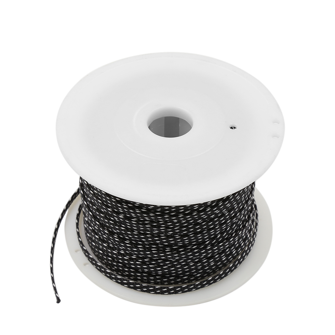 Car Audio Braided Polyester Sleeving Cable Cover Coil White Black 100M x 7MM