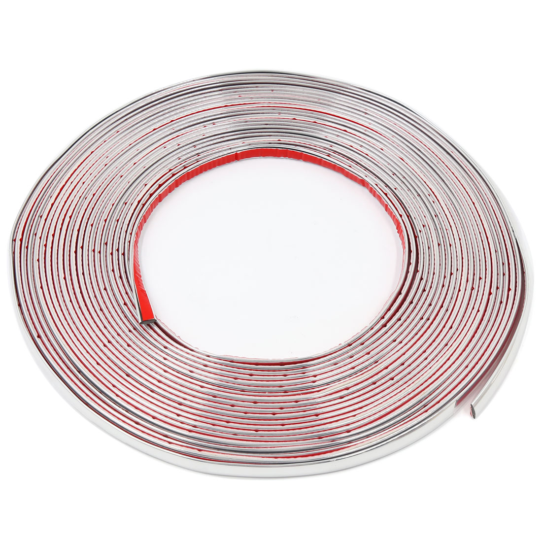 15M x 10MM Flexible Car Moulding Line Interior External Decorative Trim Strip Silver Tone