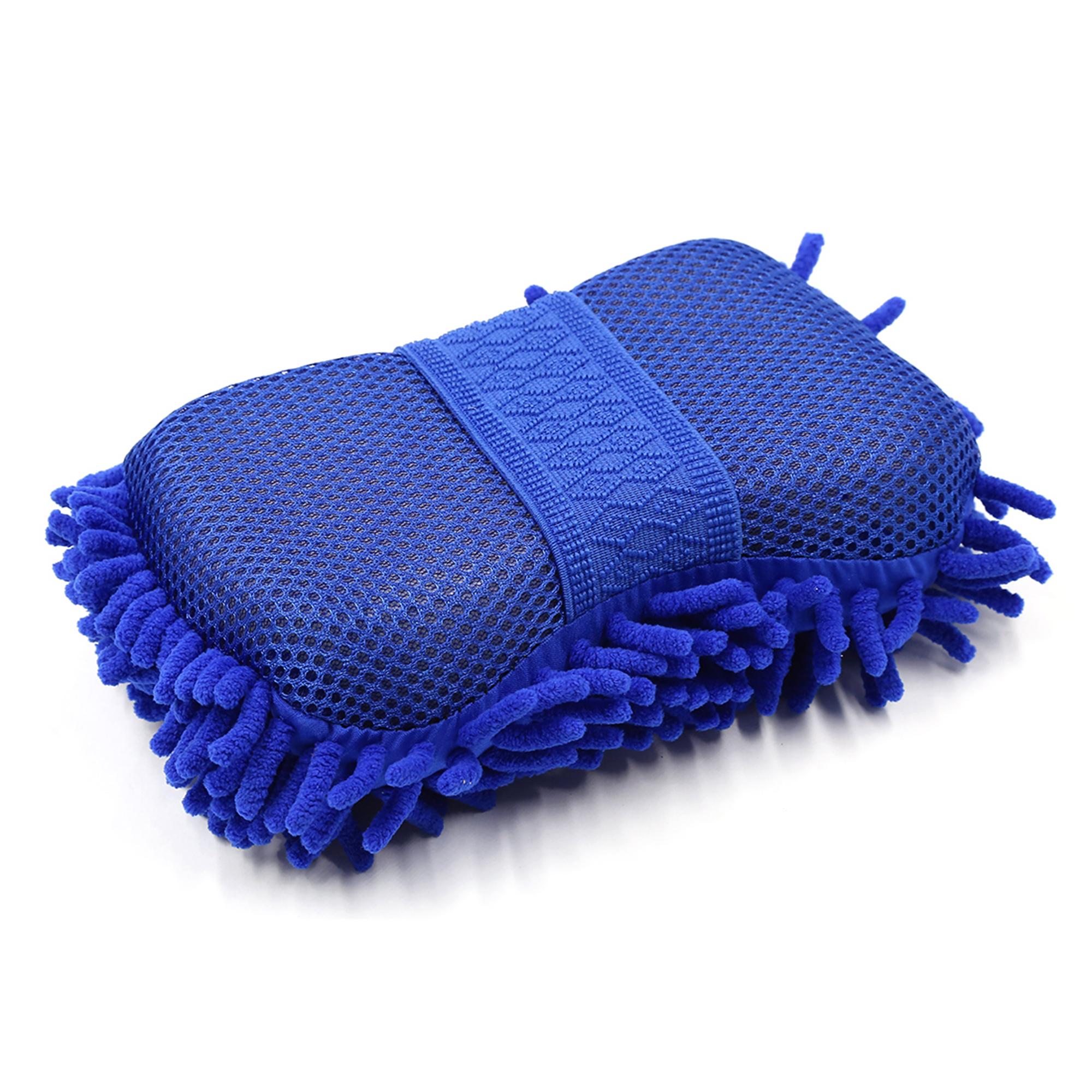 Blue Elastic Microfiber Chenille Wash Brush Sponge Pad Cleaner Car Cleaning Tool
