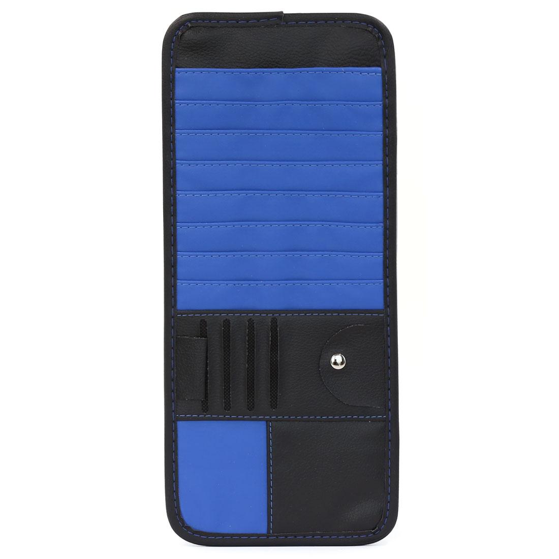 Faux Leather 14 Slots CD DVD Dics Visor Storage Organiser Holder Case Blue Black for Car