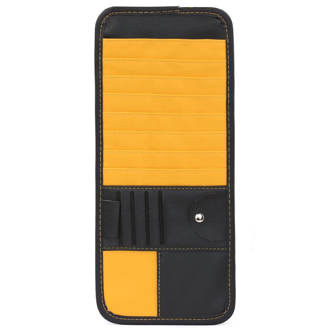 Auto Car 14 Pockets CD DVD Sun Visor Storage Organizer Holder Case Black Yellow