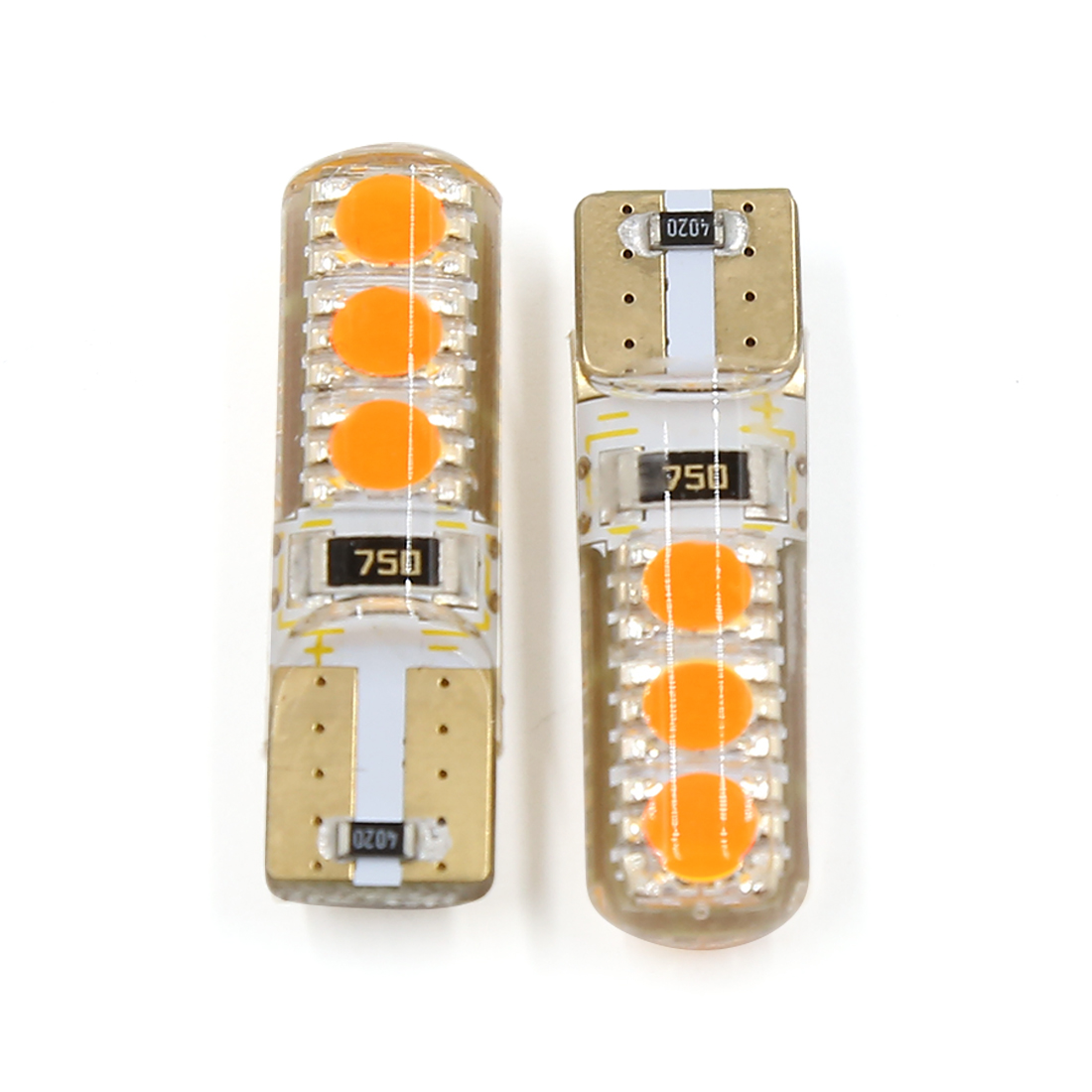 2 Pcs Error Free T10 194 6 LED Dashboard Light Bulb Wedge Lamp Yellow Interior