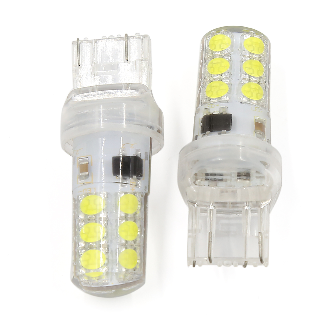 2 Pcs Silicone 7443 7440 White 12-LED Backup Reverse Light Brake Lamp Bulb 12V