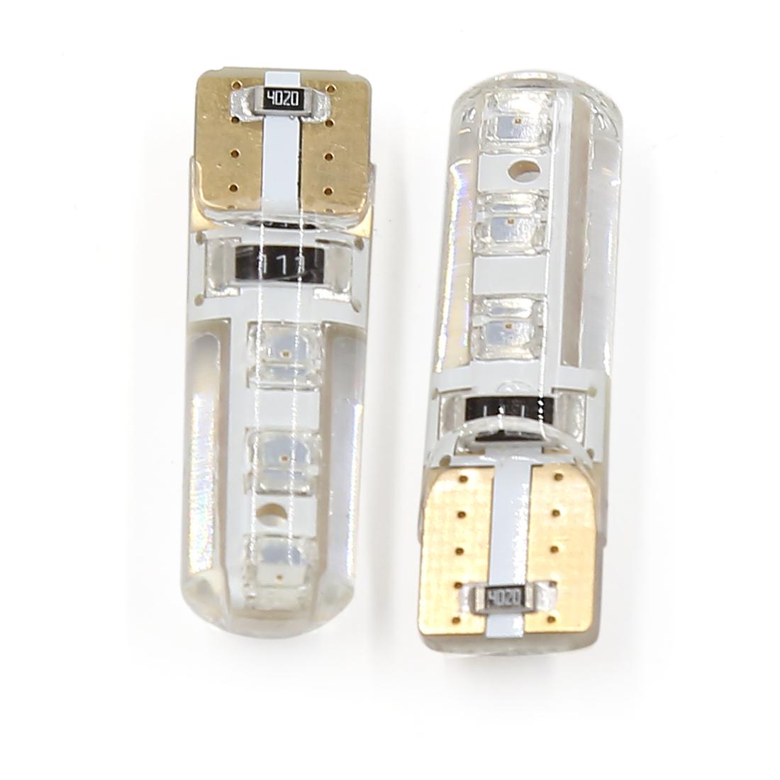 2 Pcs T10 No Error 6 LED Instrument Panel Light Side Marker Lamp Red Interior