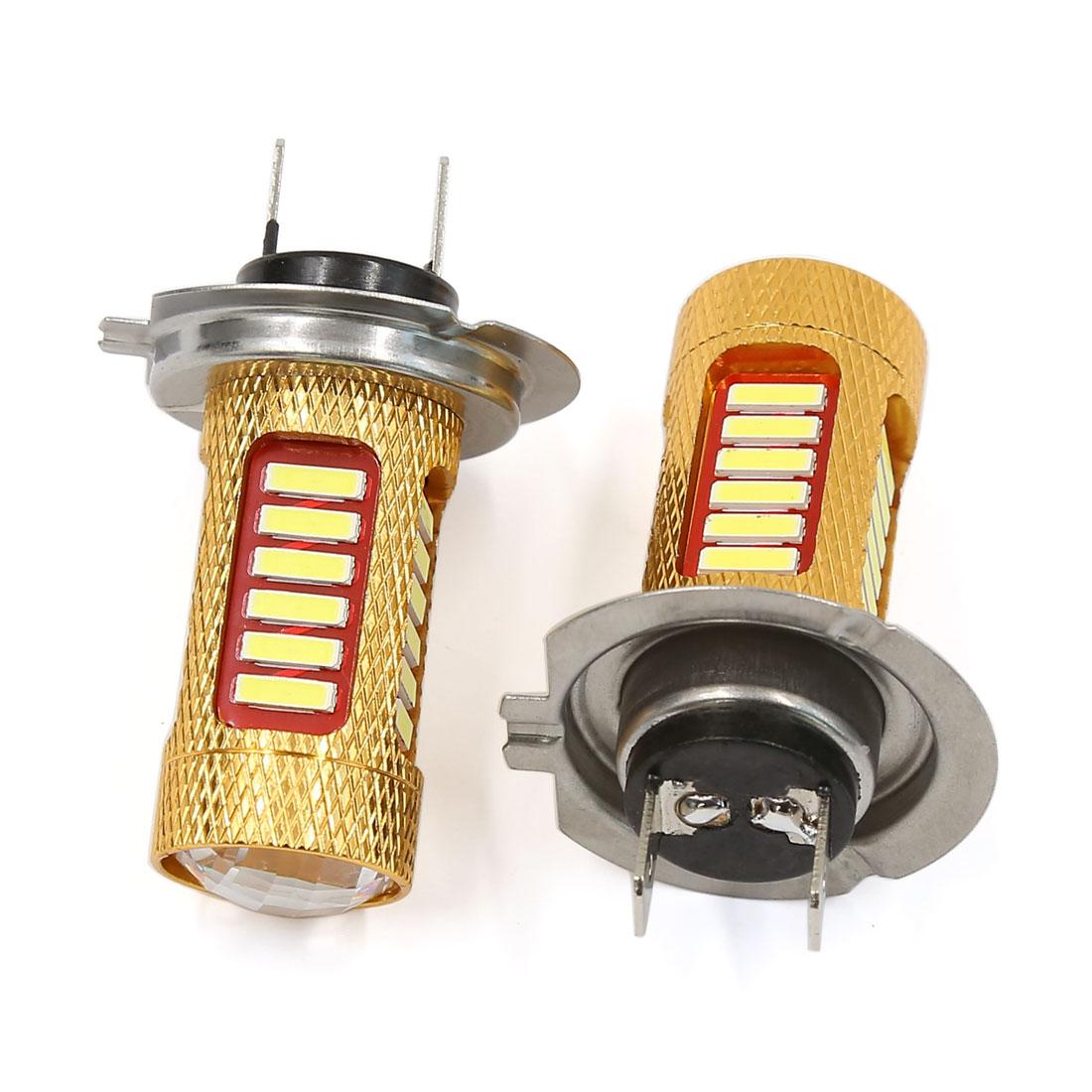 2pcs H7 Socket White 27 SMD LED DRL Fog Driving Light Headlight Bulbs for Car