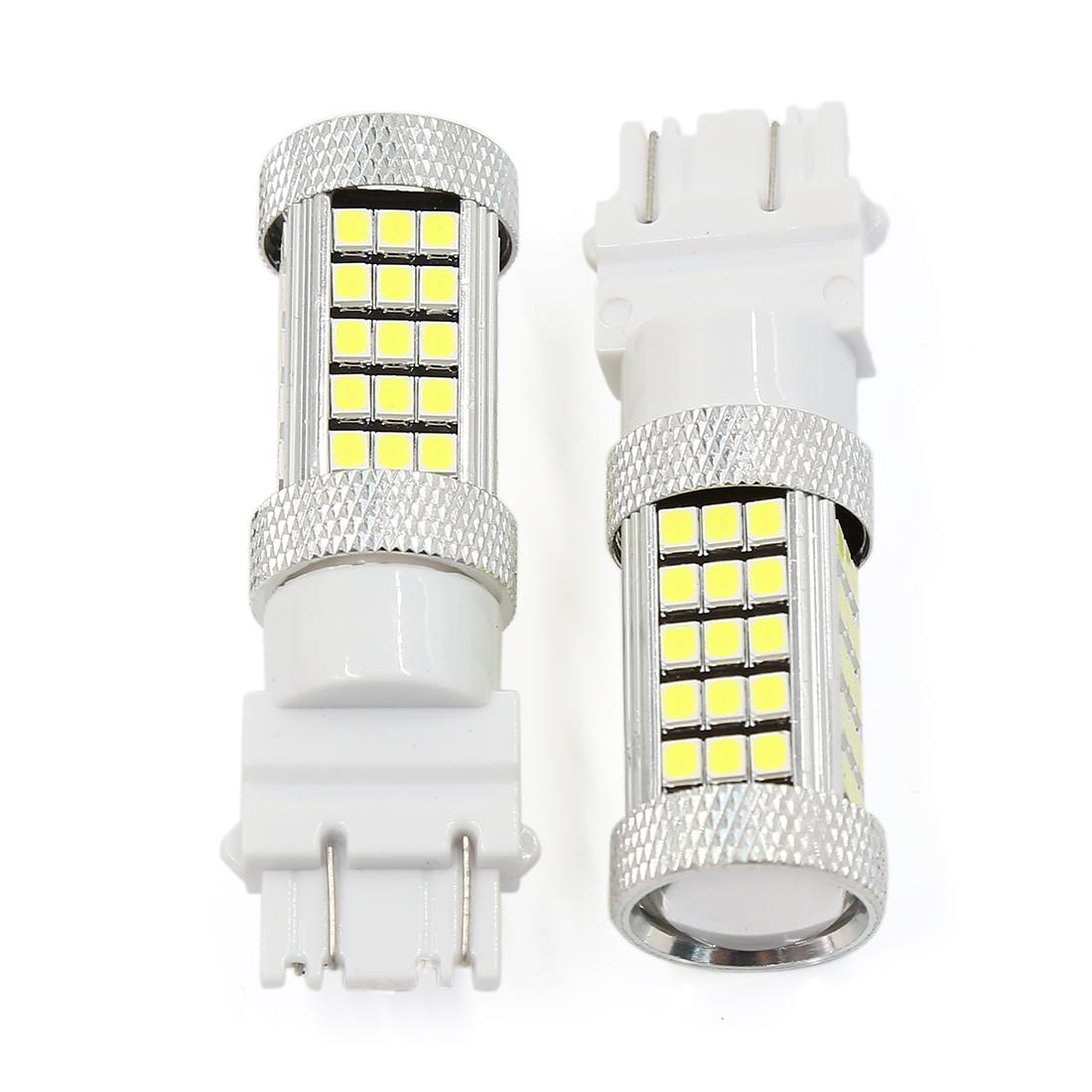 2 Pcs White 3157 63-LEDs 2832 SMD Tail Brake Stop Light LED Bulbs 4157NA 3157A