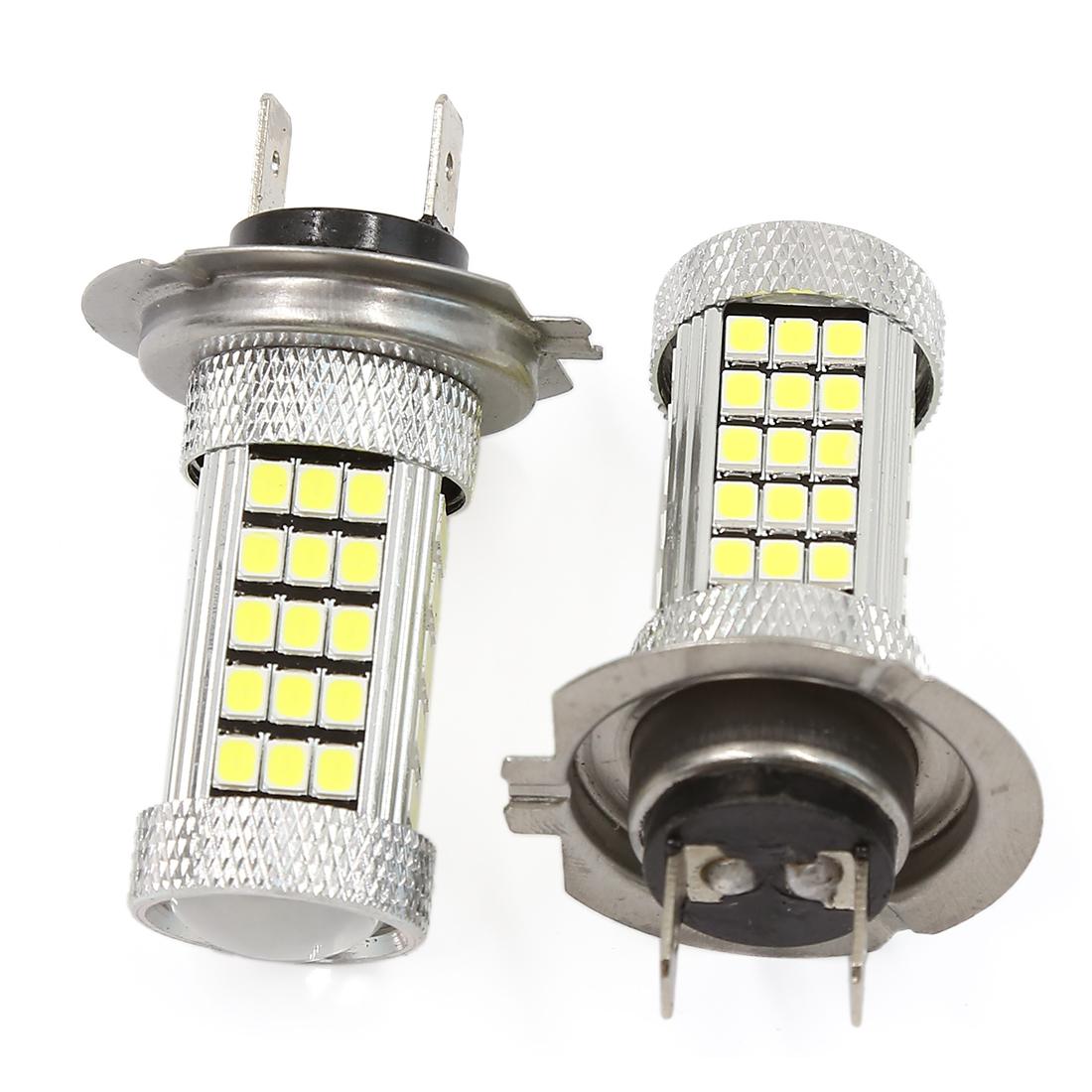 2 Pcs H7 White 63-LEDs 2835 SMD Fog Driving DRL Light Bulbs DC 12V for Car
