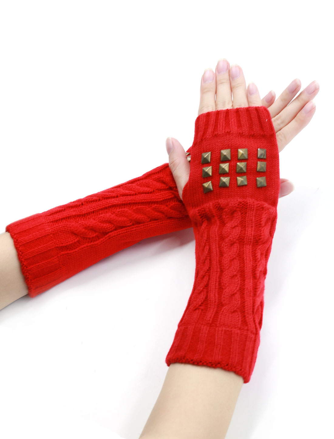 Unisex Fingerless Thumbhole Cable Knit Rivets Decor Elbow Length Gloves Pair Red