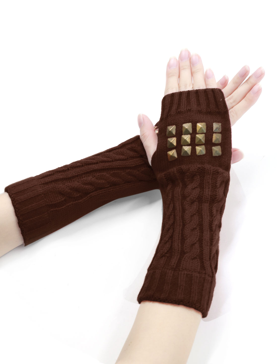 Unisex Fingerless Thumbhole Rivets Embellished Knitted Gloves Pair Brown
