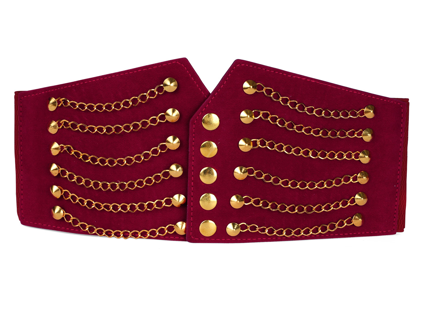 Women Rivet Chains Decor Elastic Wide PU Waistband 64cm Length Red