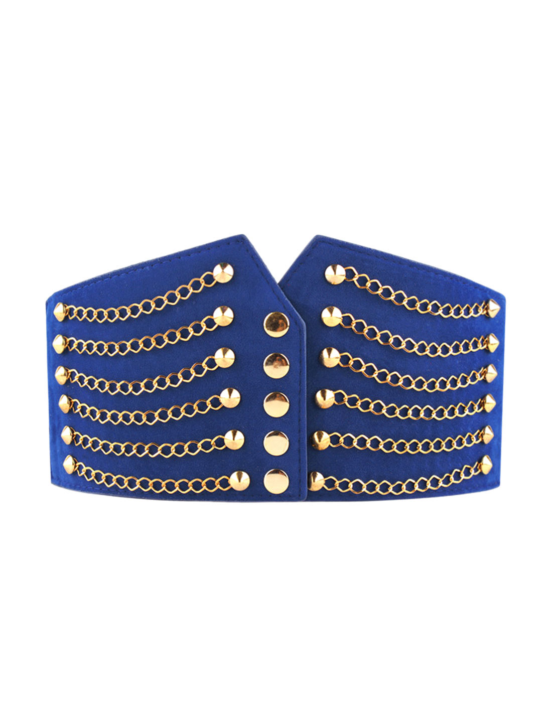 Lady Rivet Chains Decor Snap Button Fastener PU Cinch Belt 64cm Length Blue