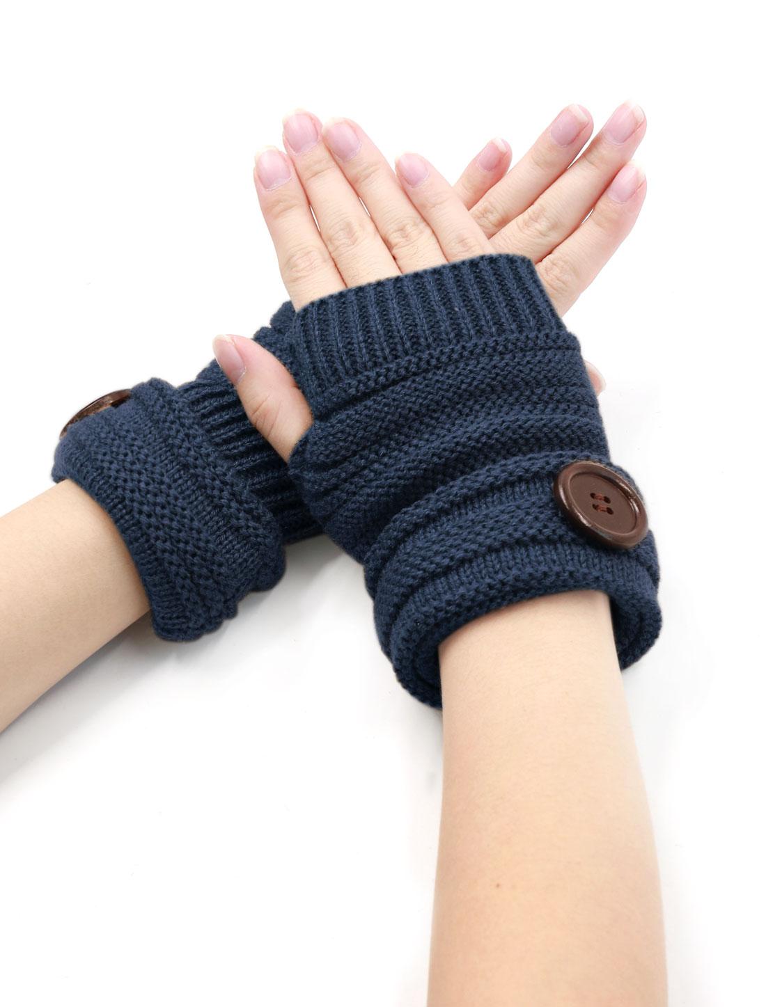 Unisex Thumbhole Design Fingerless Buttons Decor Gloves Pair Blue