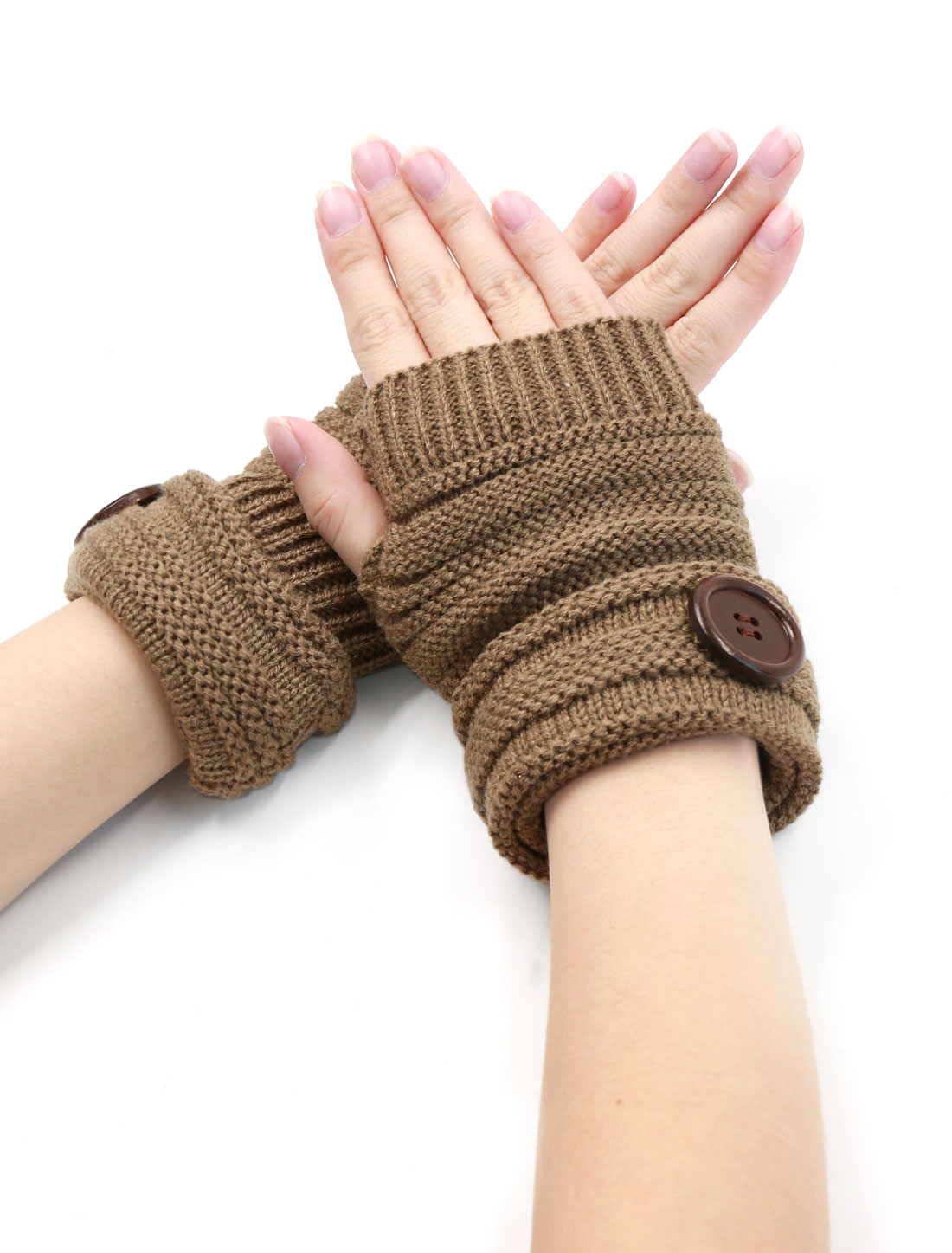 Unisex Thumbhole Roll Up Design Buttons Decor Knitted Gloves Pair Brown