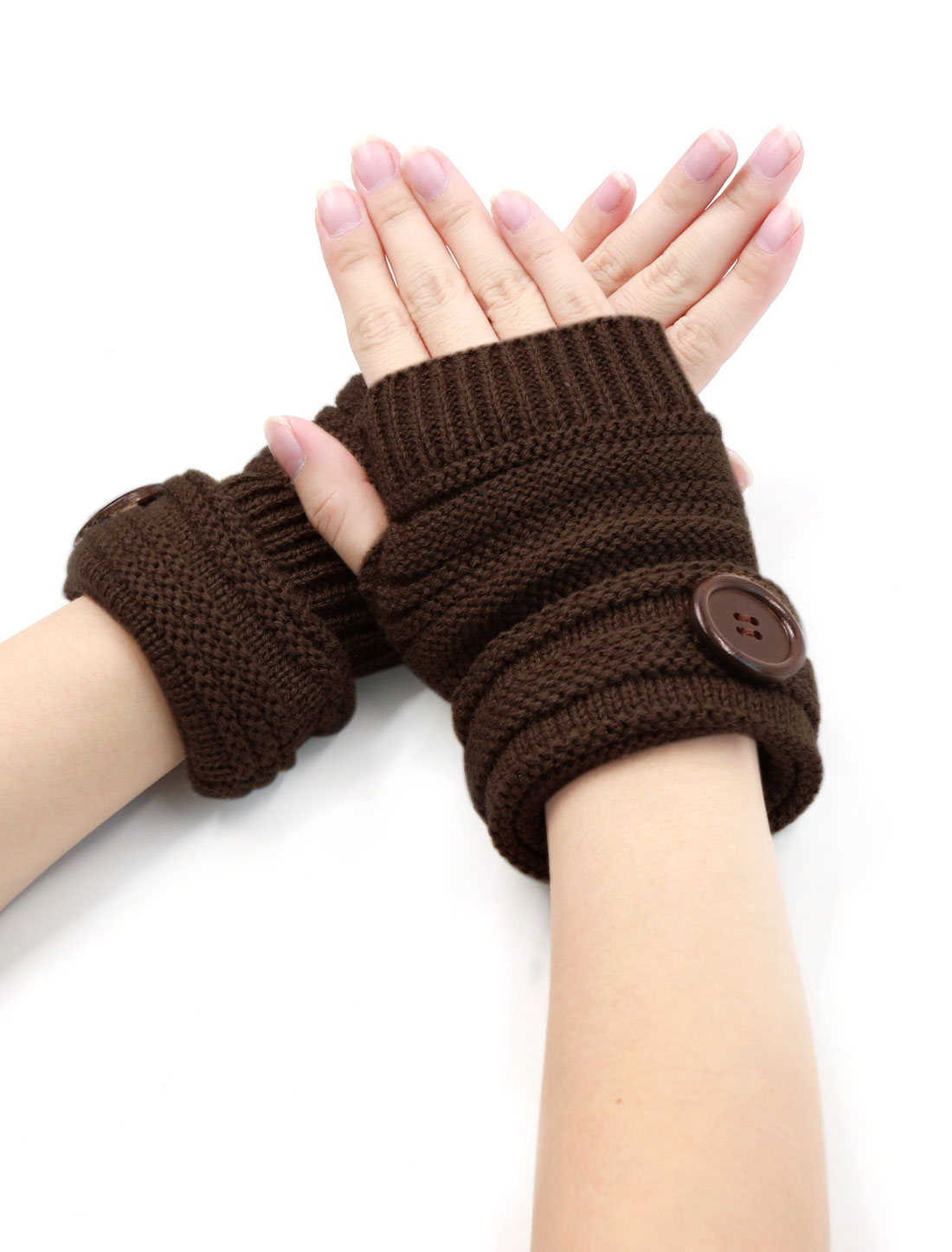 Unisex Stretchy Roll Up Thumbhole Fingerless Gloves Pair Dark Brown
