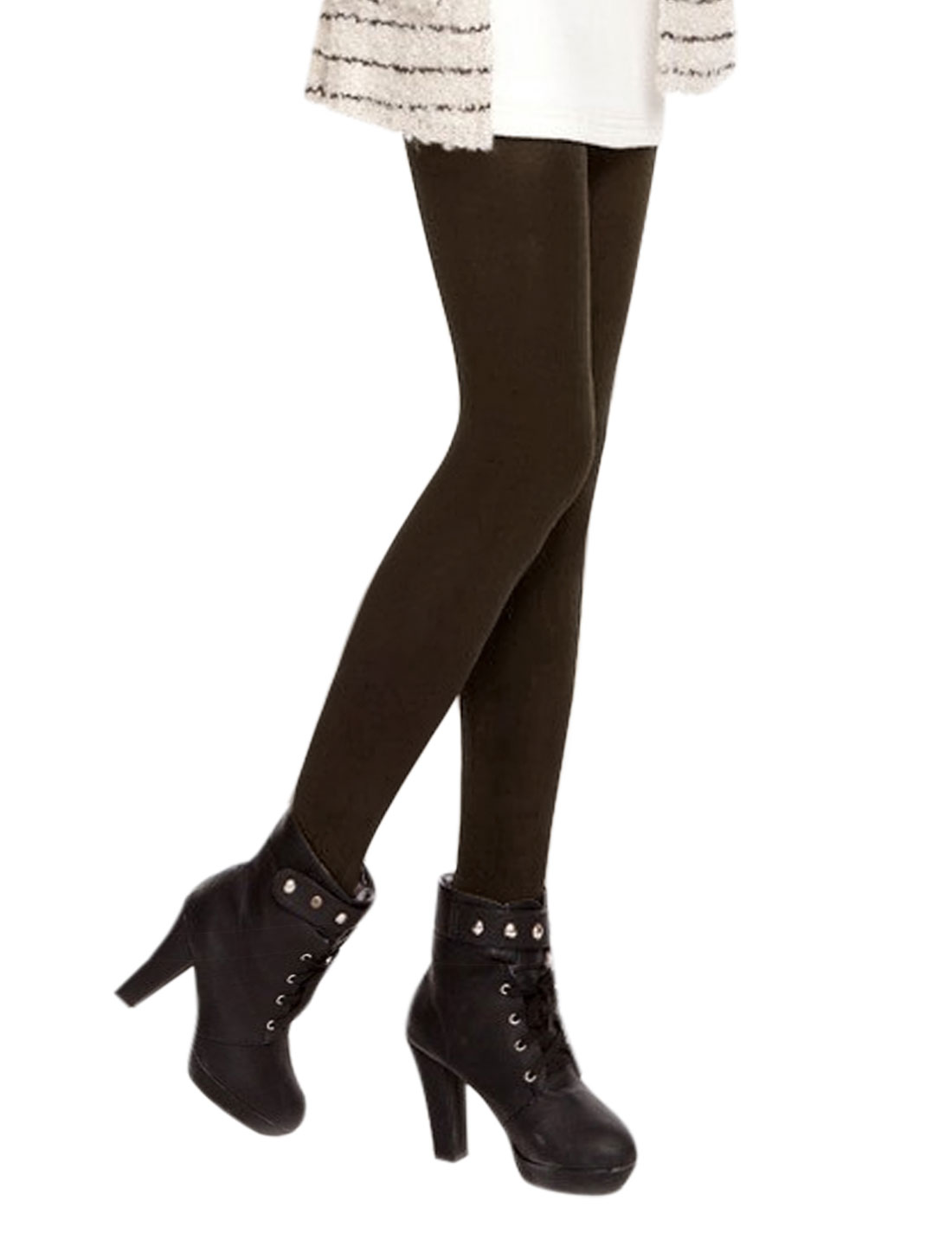 Ladies Elastic Waist Stretchy Soft Lining Footed Heavy Leggings Brown XS