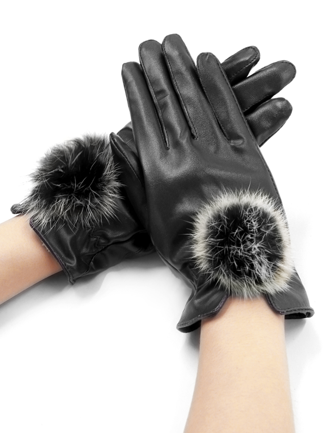 Women Pom-Pom Balls Decor PU Full Finger Gloves Pair Black