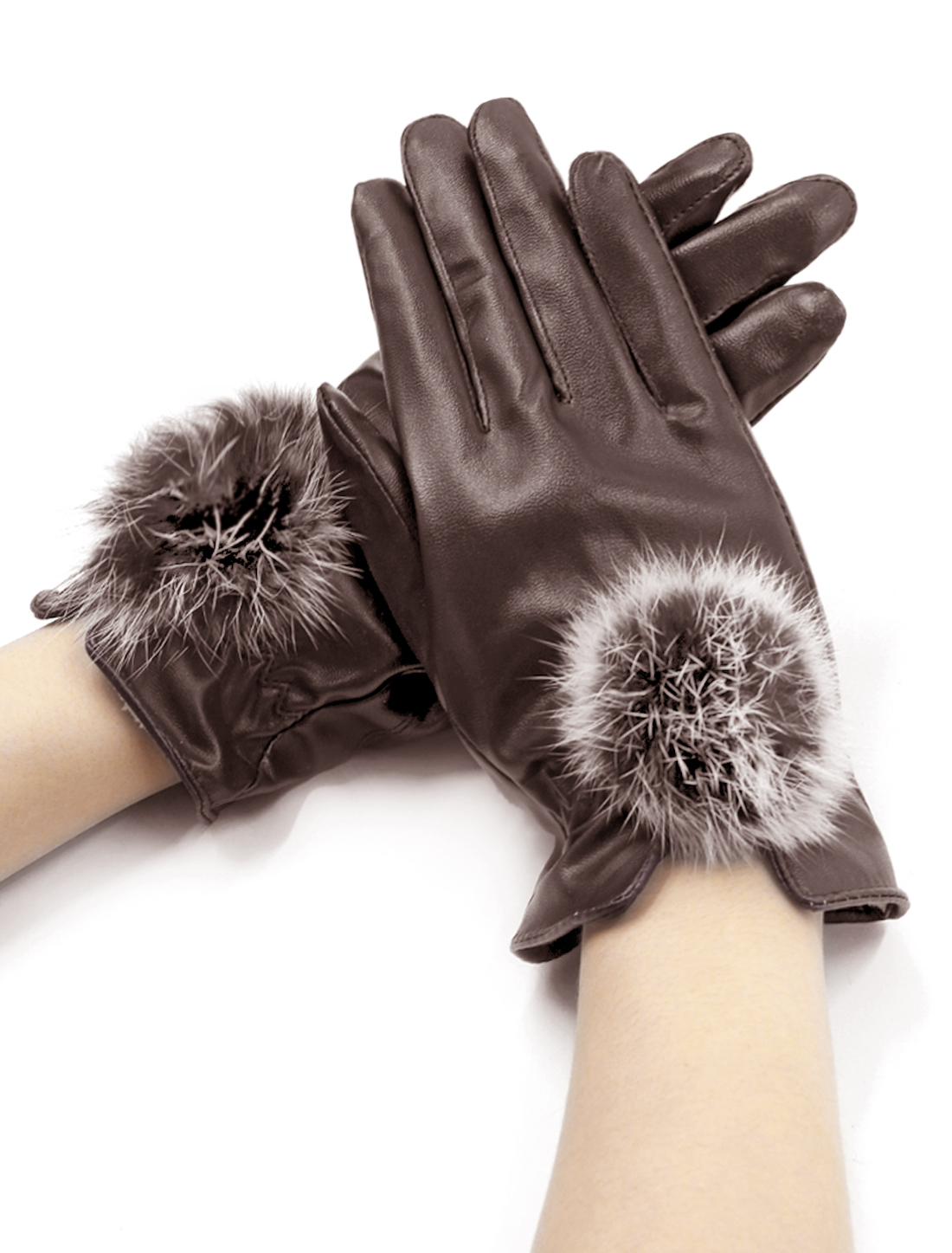 Ladies Pom-Pom Balls Embellished PU Gloves Pair Brown