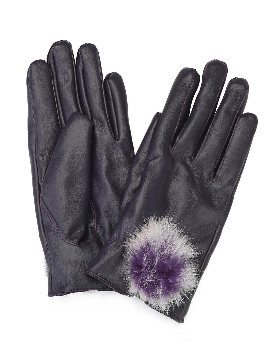 Women Pom-Pom Balls Decor Soft Lining PU Winter Gloves Pair Purple