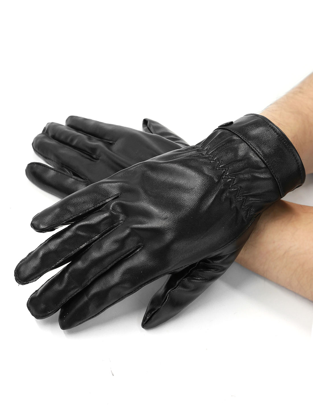 Men Button Decor Decorative Seam Soft Lining PU Full Finger Gloves Pair Black