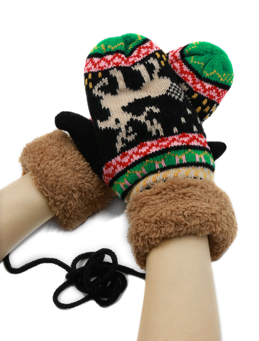 Women Plush Panel Deer Pattern Knitted String Mitten Gloves Pair Black