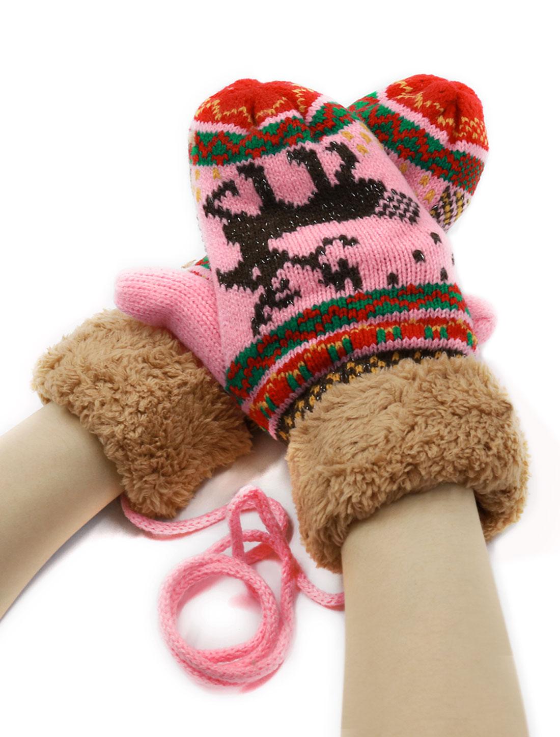 Ladies Plush Panel Deer Pattern Knitted Hand Warm String Gloves Pink Pair