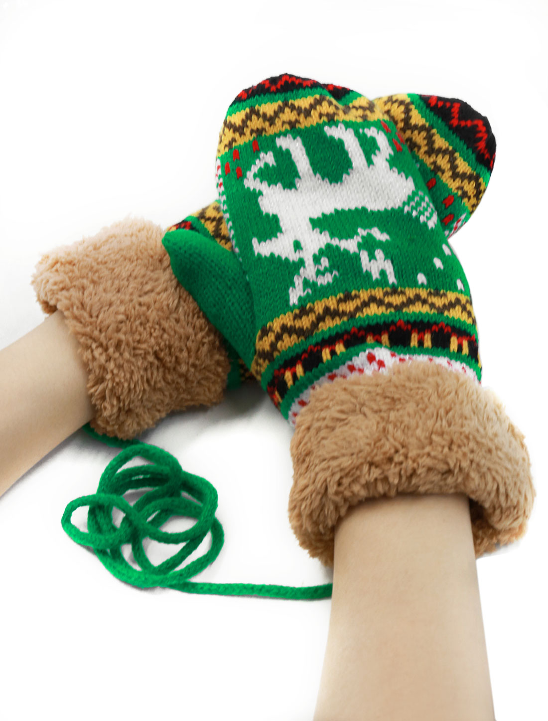 Women Plush Panel Wrist LengthKnit Deer Pattern Mitten Gloves Green Pair