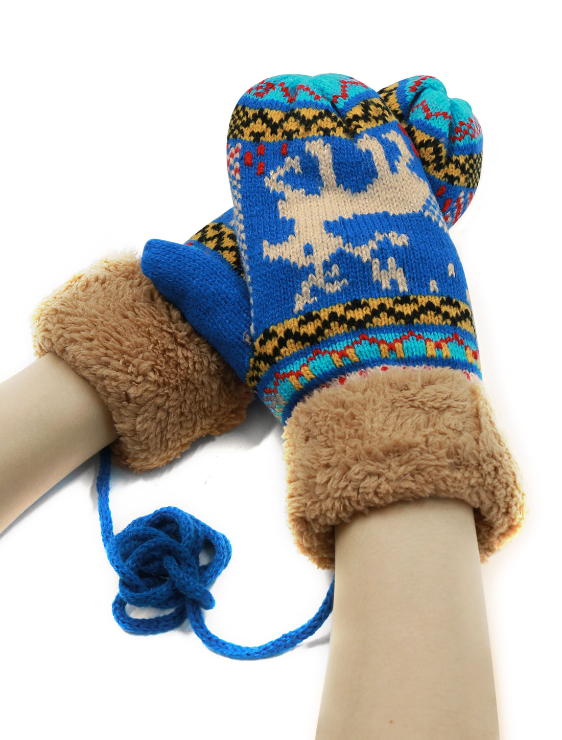 Women Knit Deer Pattern Soft Lining Plush Panel String Mitten Gloves Blue Pair