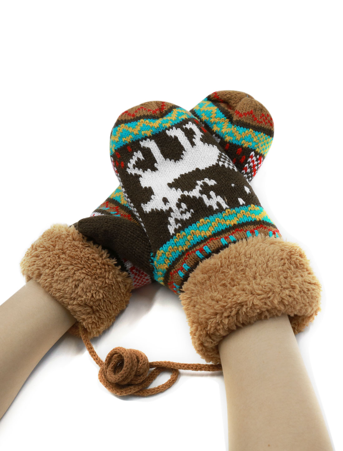 Women Deer Pattern Knitted Plush Panel Thicken String Mittens Brown Pair