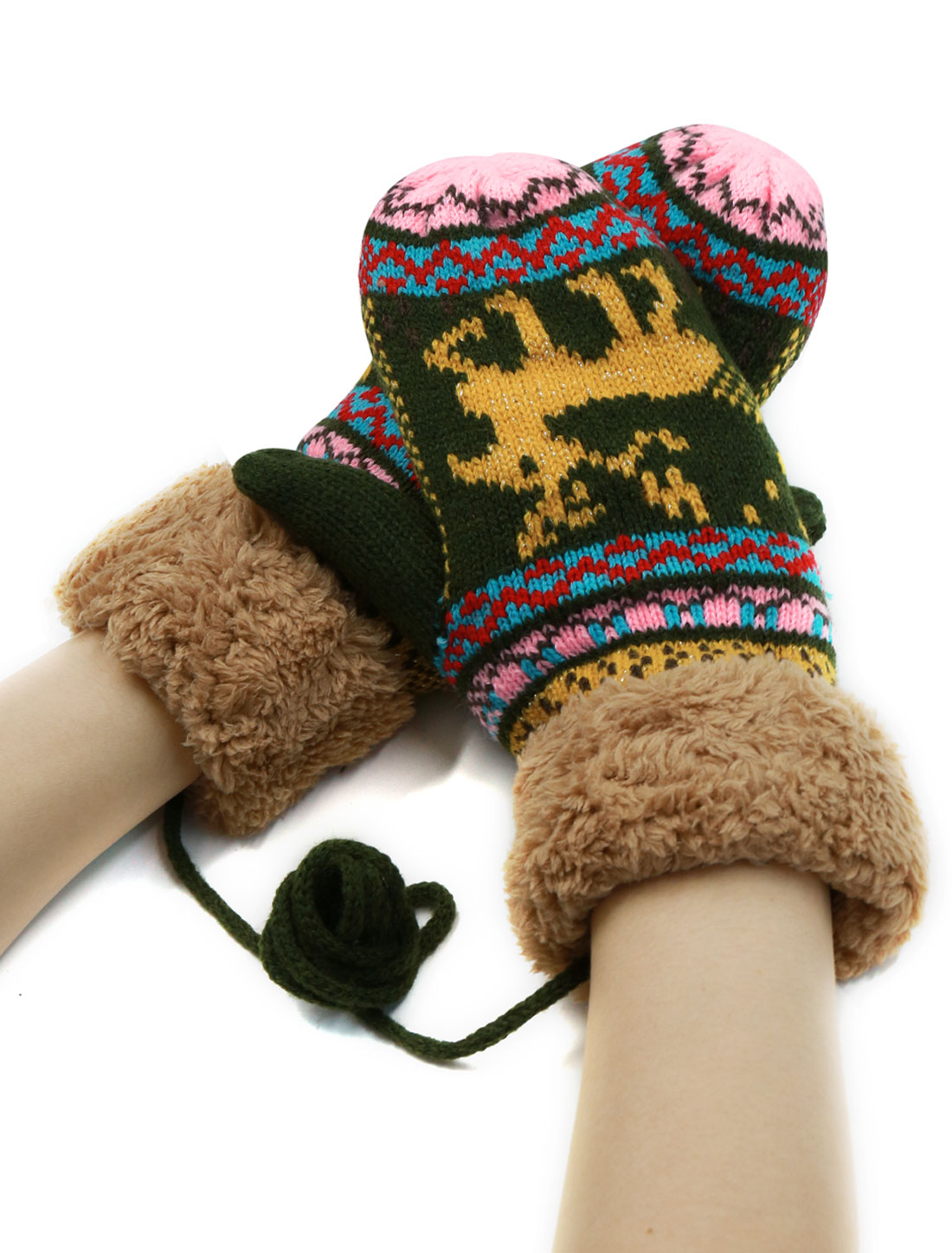 Ladies Plush Cuffs Deer Pattern Knitting Mitten Gloves Army Green Pair