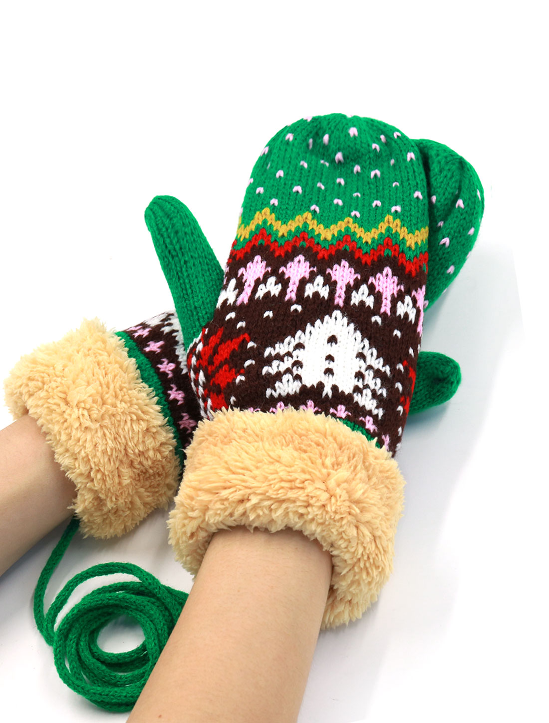 Ladies Plush Panel Christmas Tree Pattern Knit String Mitten Gloves Pair Green