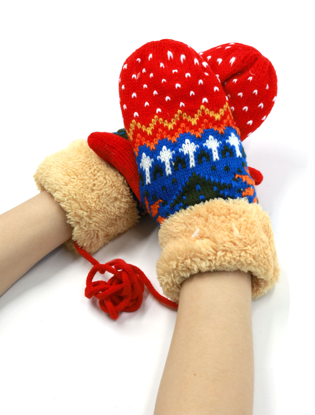 Ladies Christmas Tree Pattern Soft Lining Plush Panel Mitten Gloves Pair Red