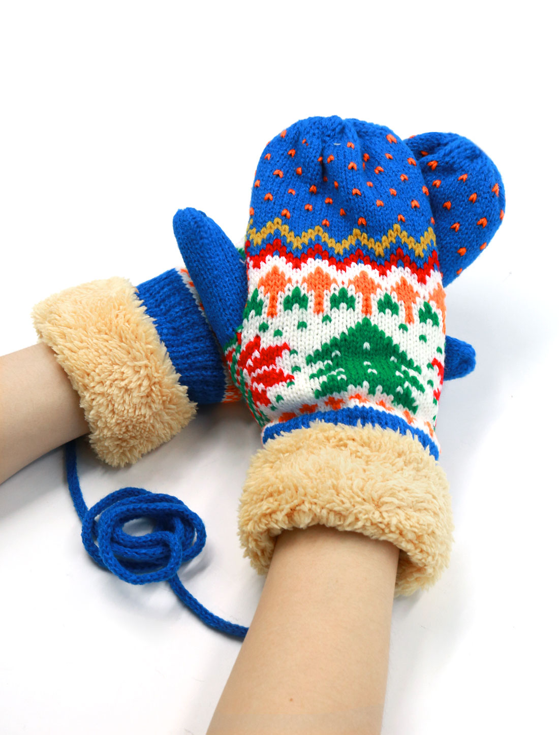 Ladies Knitted Christmas Tree Pattern Casual String Mitten Gloves Pair Blue