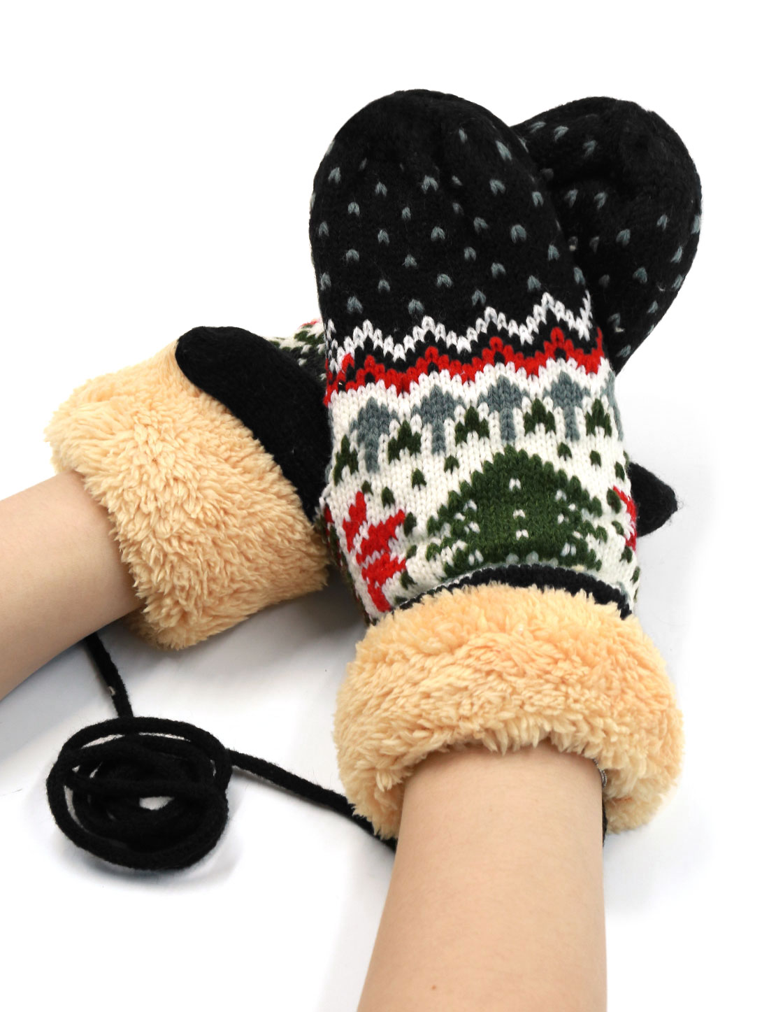 Women Plush Panel Christmas Tree Pattern Hand Warm Knitted Gloves Pair Black