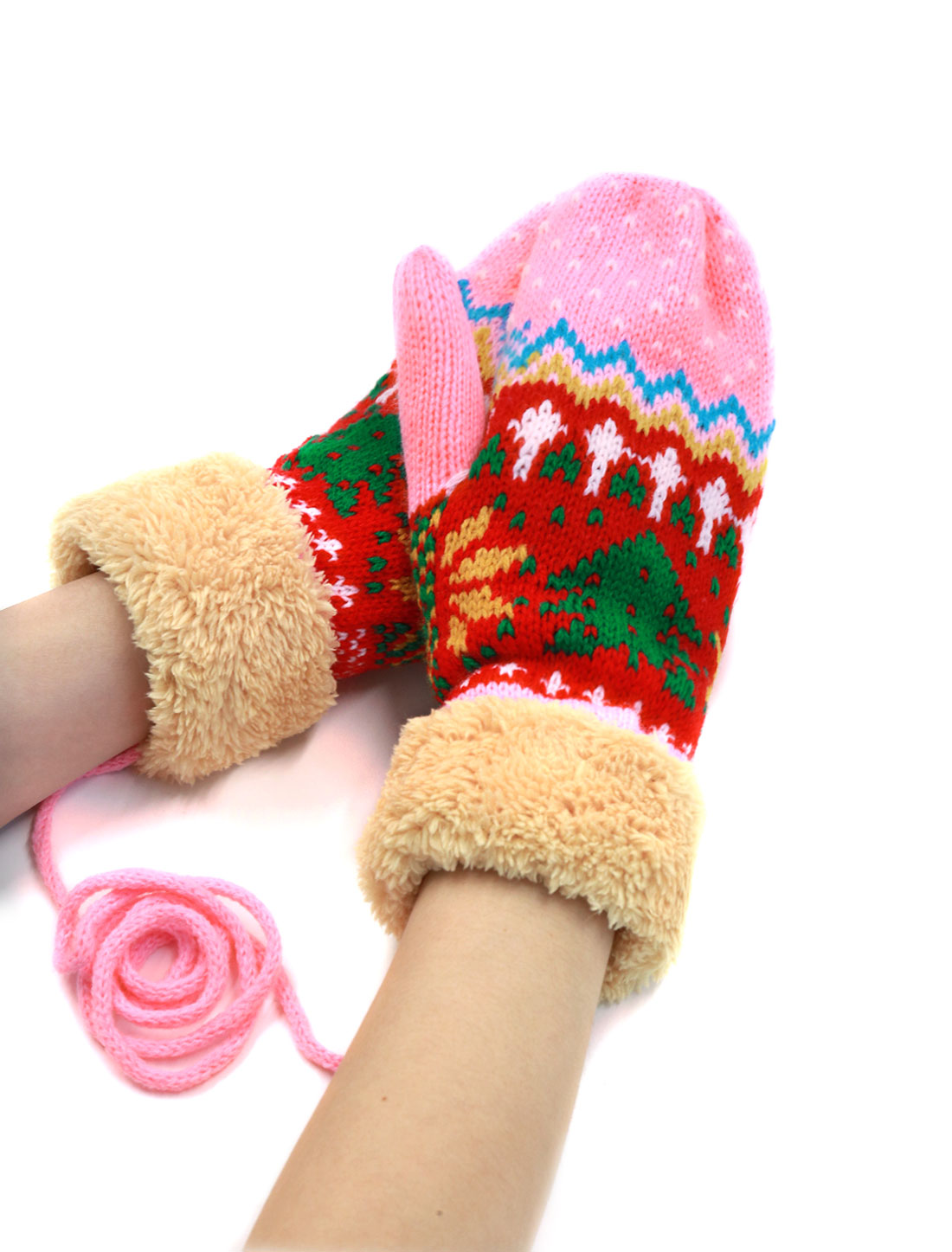 Ladies Plush Panel Wrist Length Christmas Tree Pattern Mitten Gloves Pair Pink