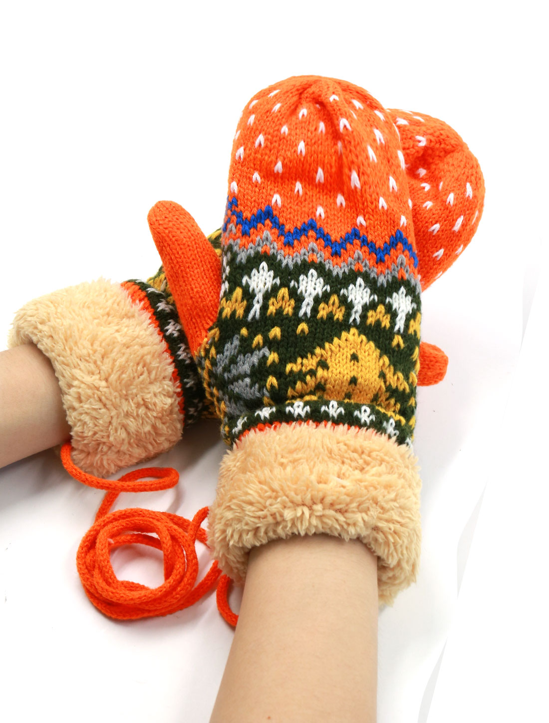 Ladies String Knit Christmas Tree Pattern Leisure Thicken Mittens Pair Orange