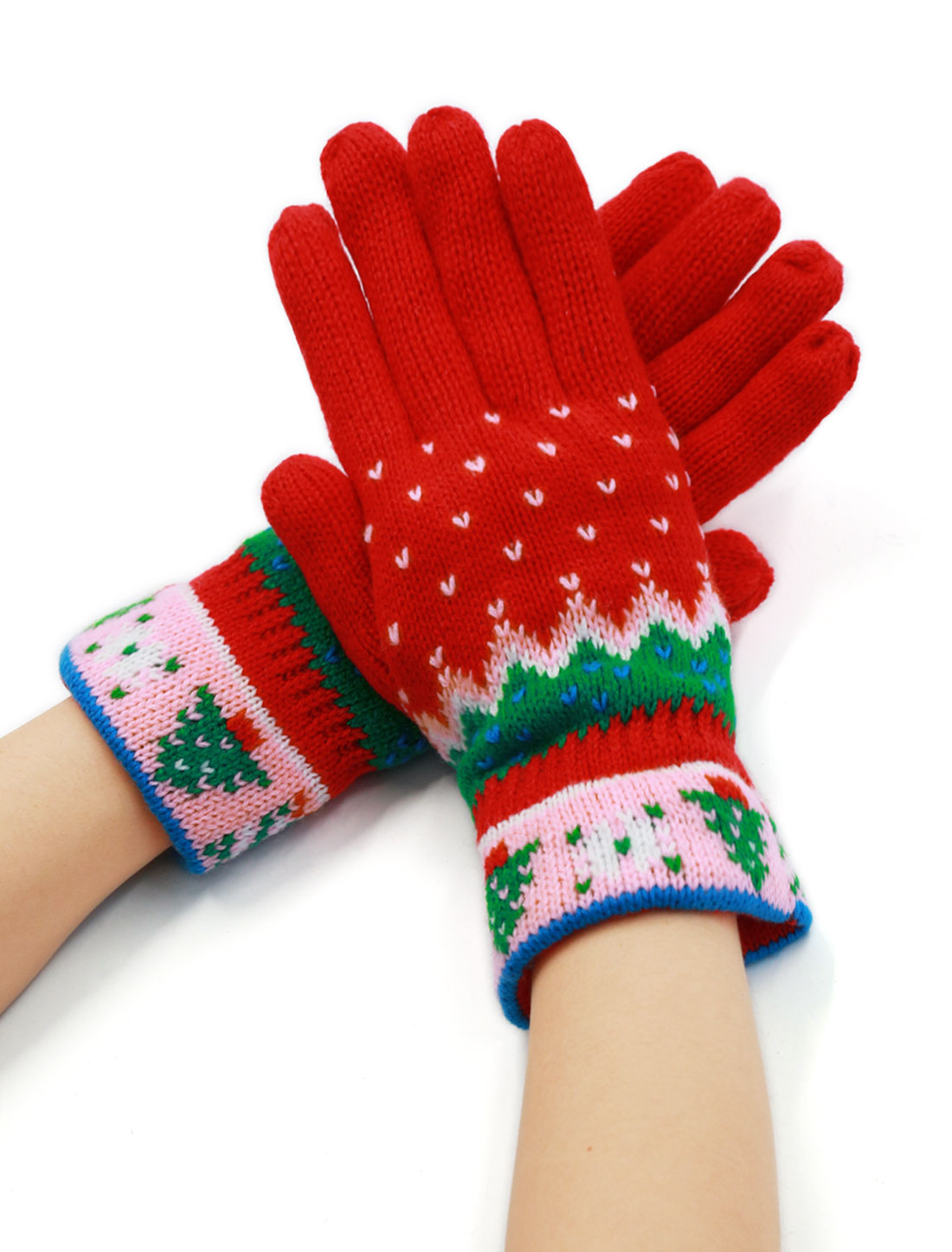 Women Wrist Length Christmas Tree Pattern Full Finger Knitted Gloves Pair Red