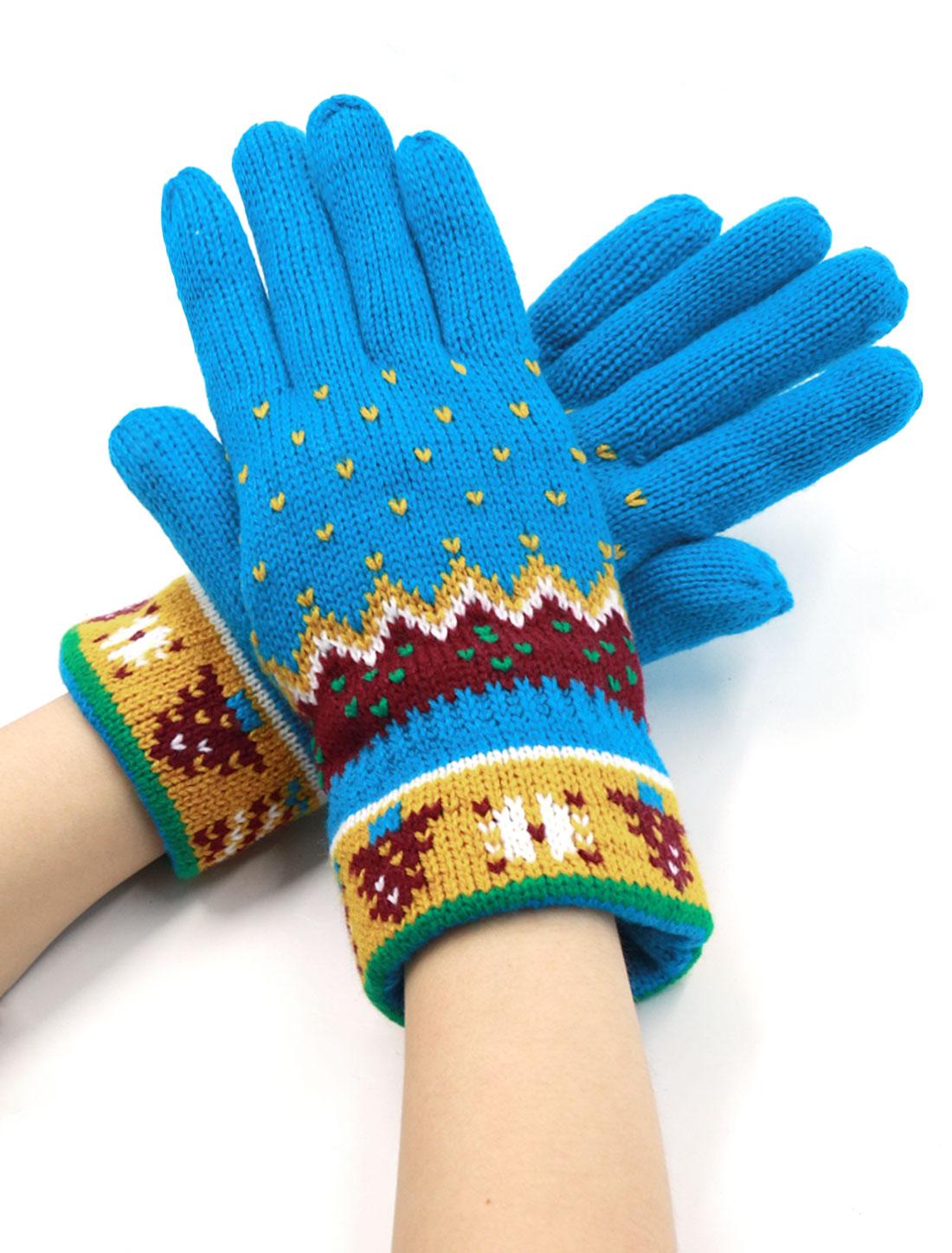 Women Christmas Tree Pattern Soft Lining Full Finger Knit Gloves Pair Blue