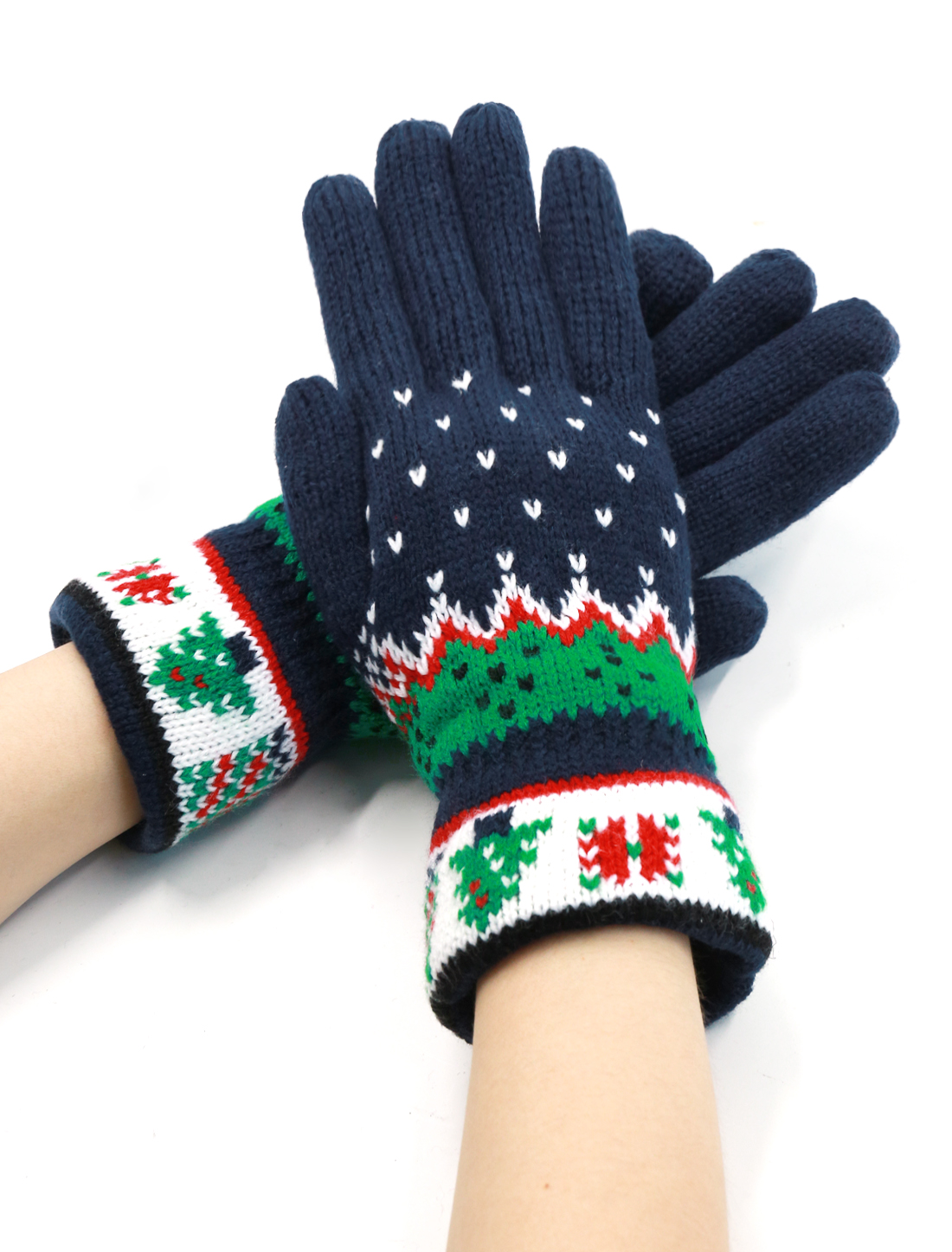 Lady Christmas Tree Pattern Knitted Full Finger Casual Gloves Pair Navy Blue