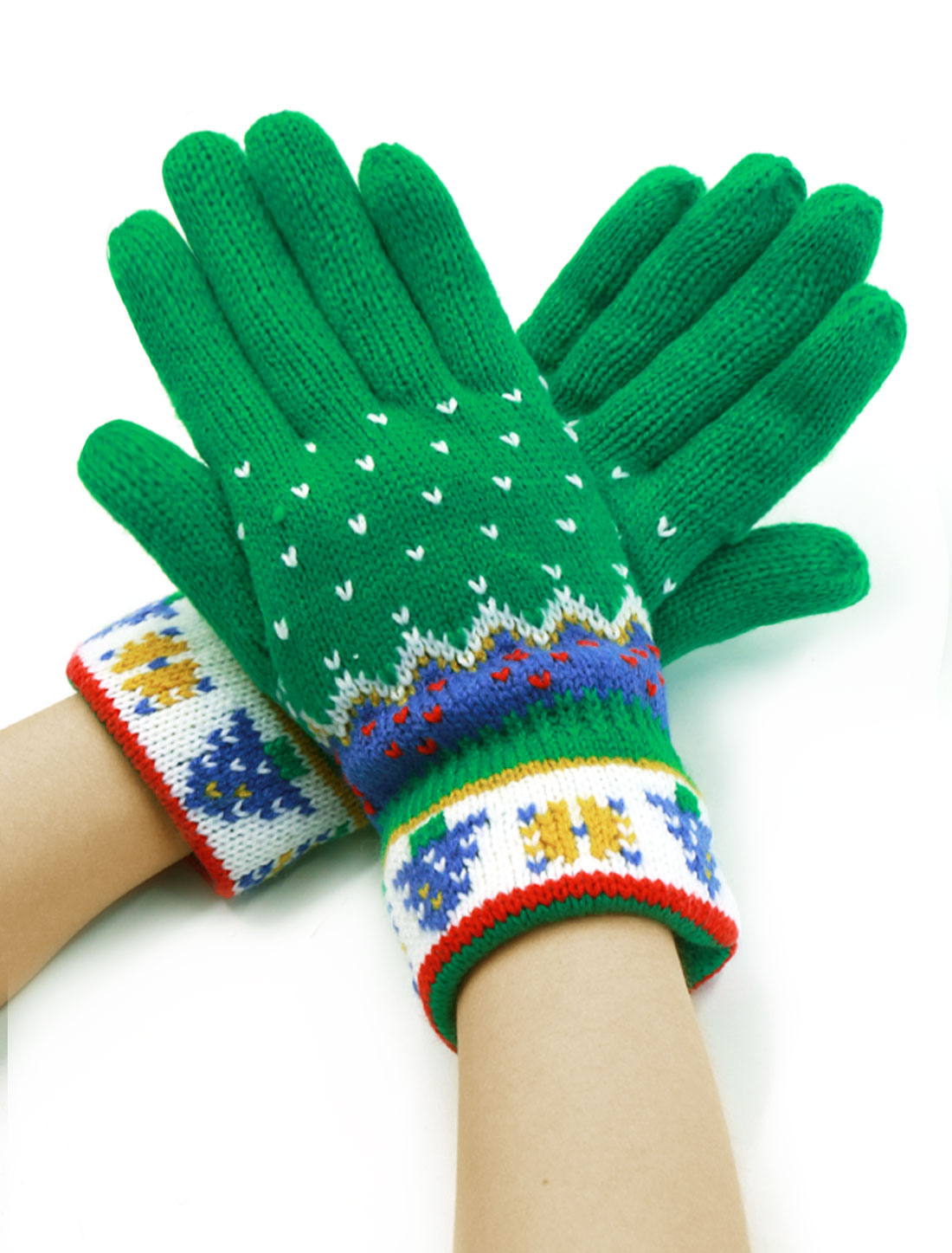Ladies Five Fingers Knitting Christmas Tree Pattern Leisure Gloves Pair Green