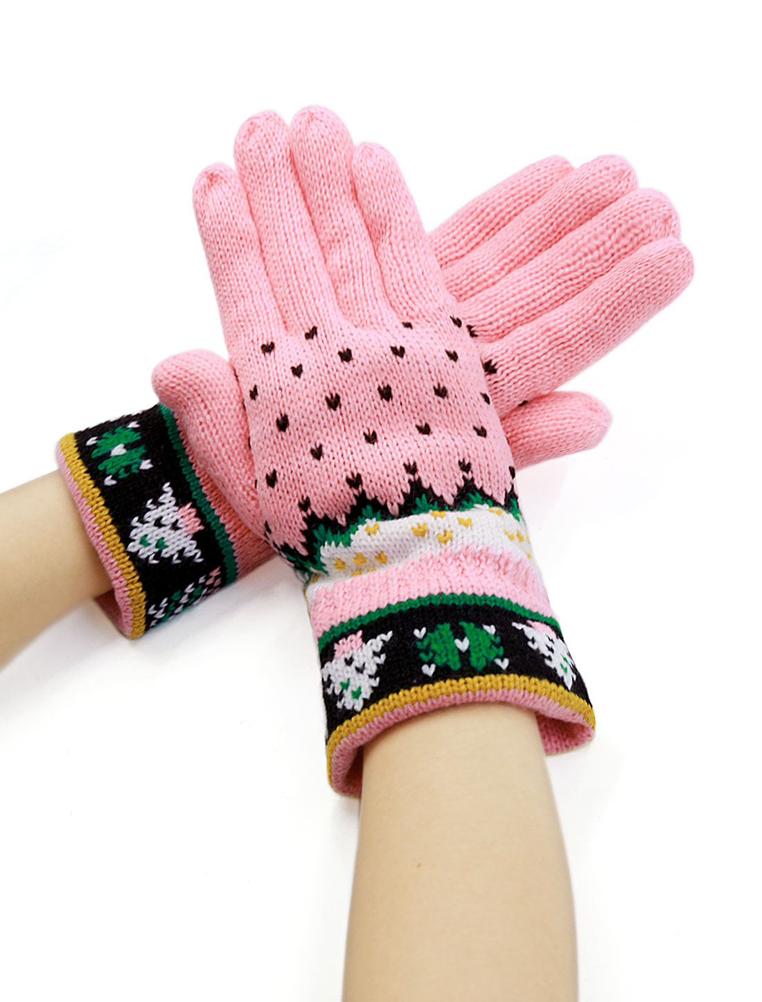 Women Full Finger Christmas Tree Pattern Thicken Knitted Gloves Pair Pink