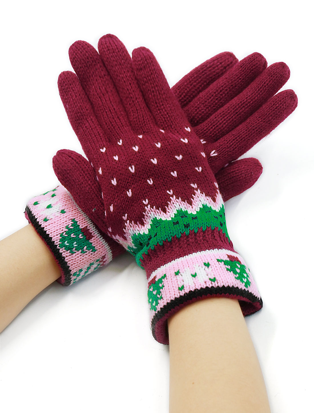 Women Knitted Full Finger Christmas Tree Pattern Palm Warm Gloves Burgundy