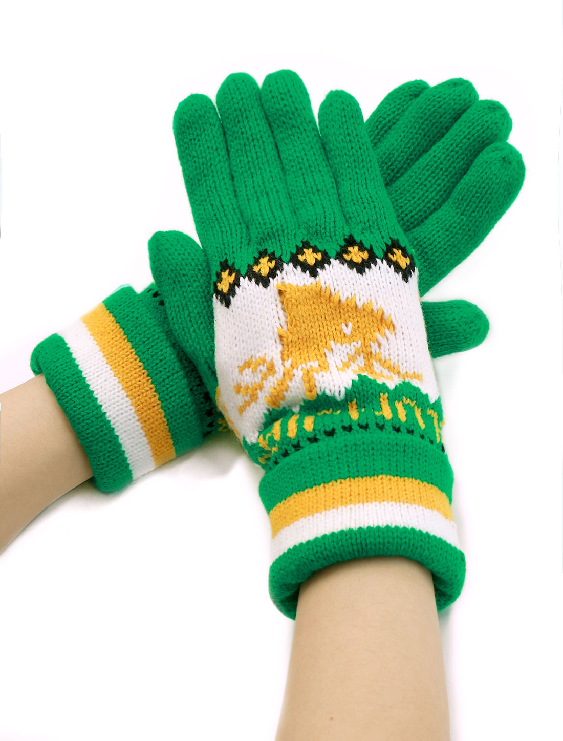 Ladies Wrist Length Deer Pattern Knit Roll Up Cuffed Gloves Pair Green