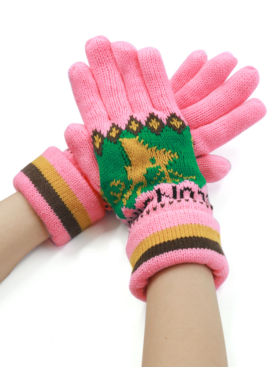 Ladies Five Fingers Deer Pattern Soft Lining Leisure Knitted Gloves Pair Pink